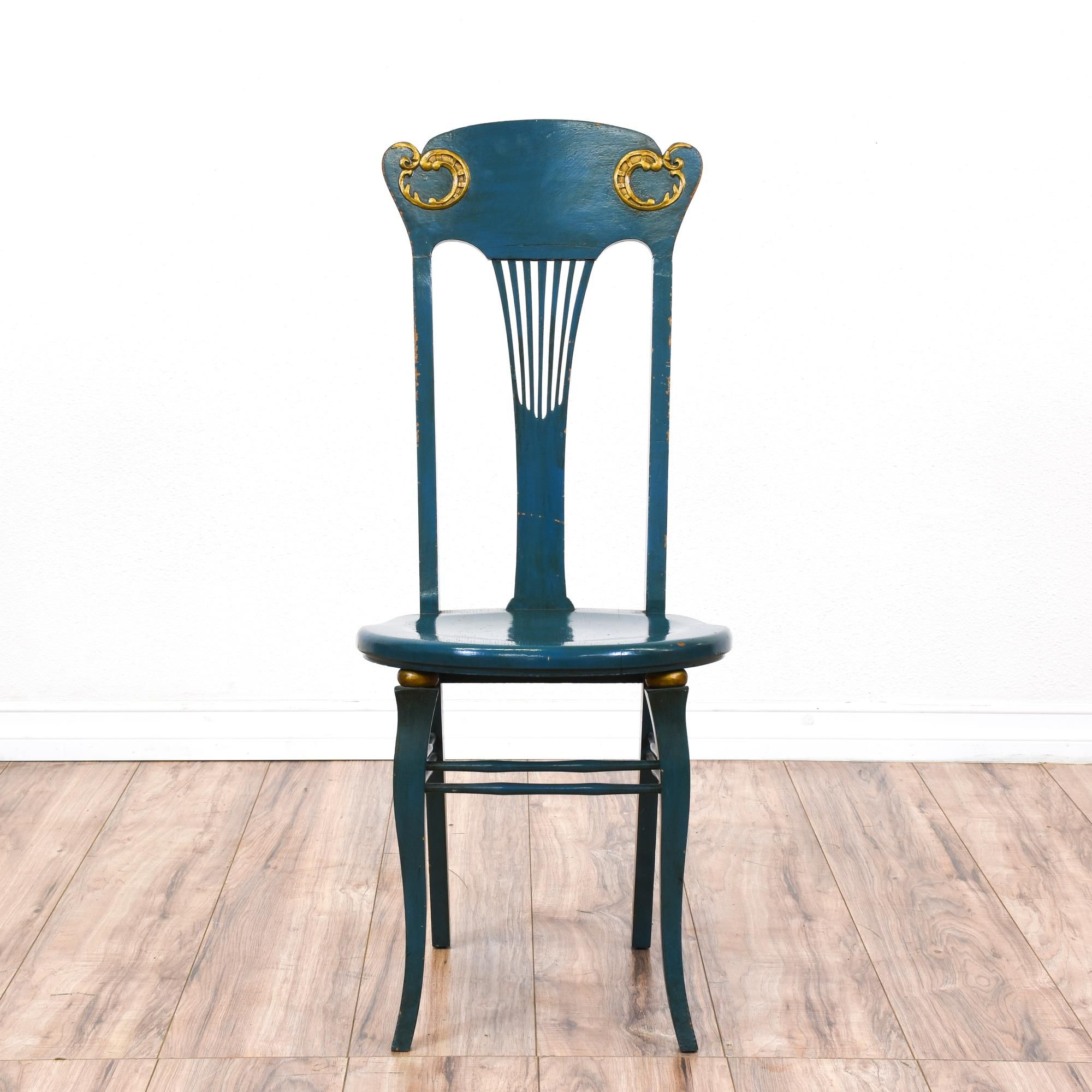 Vintage Blue Side Chair W Gold Accents