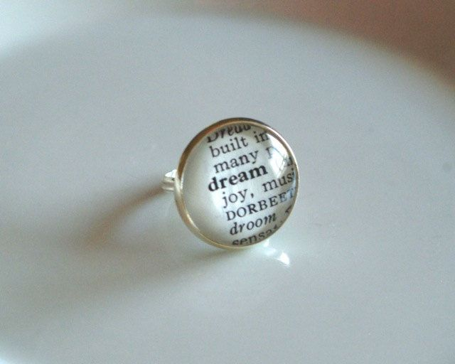 Is this charming or is this charming?!!! DREAM-Vintage Dictionary Ring by Chirp Handmade.  via Etsy.