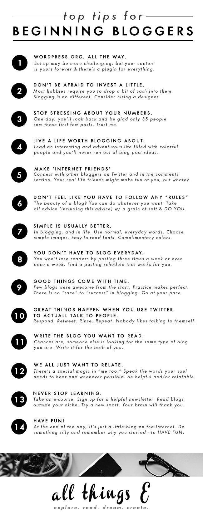 Top Tips for Beginning Bloggers || http://AllThingsEBlog.com