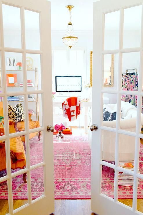 office french doors entry office with pink rug and french doors contemporary denlibraryoffice denlibrary