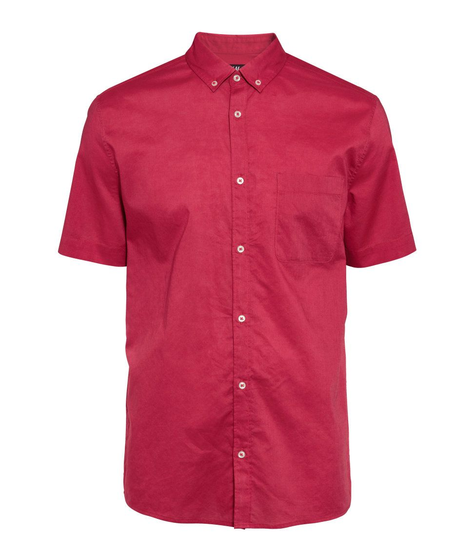 Red button-down short-sleeved shirt with chest pocket. | H&M For ...