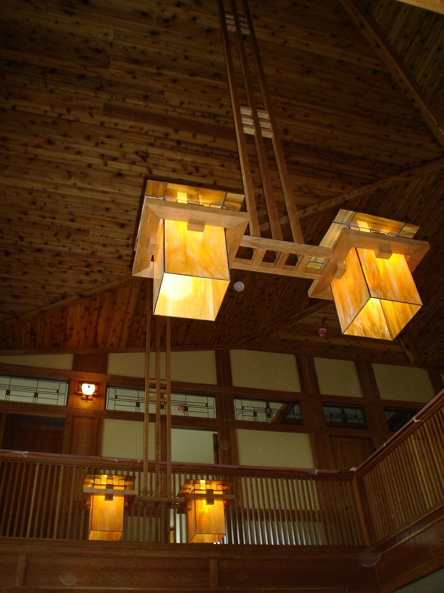 Custom Made Frank Lloyd Wright Inspired Ceiling Light