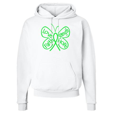 Lymphoma Butterfly Hooded Sweatshirts #Lymphoma #ButterflyRibbonShirts #LymphomaAwareness