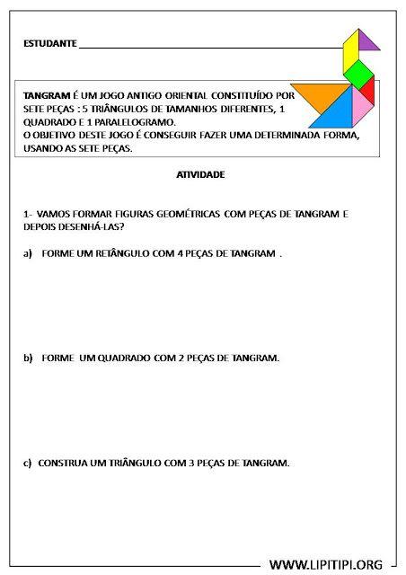 Atividade com Tangram para turmas de Fundamental I | Educação ...