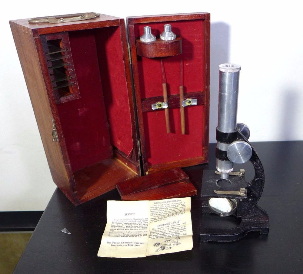 Vintage Science Craft Microscope With Wood Case Science Crafts Wood Case Crafts