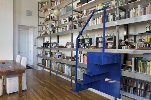 CityDeskStudio: Custom bookshelf w/ movable stairs