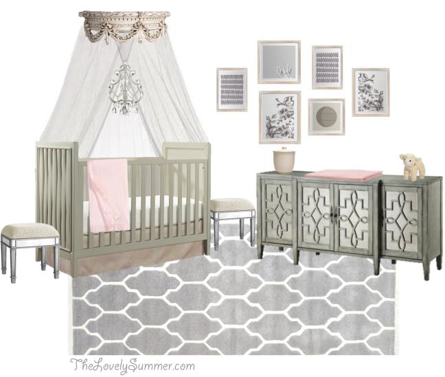 Emelia Room Look For Less #restorationhardware www.thelovelysummer.com #budget nursery grey and pink girl room