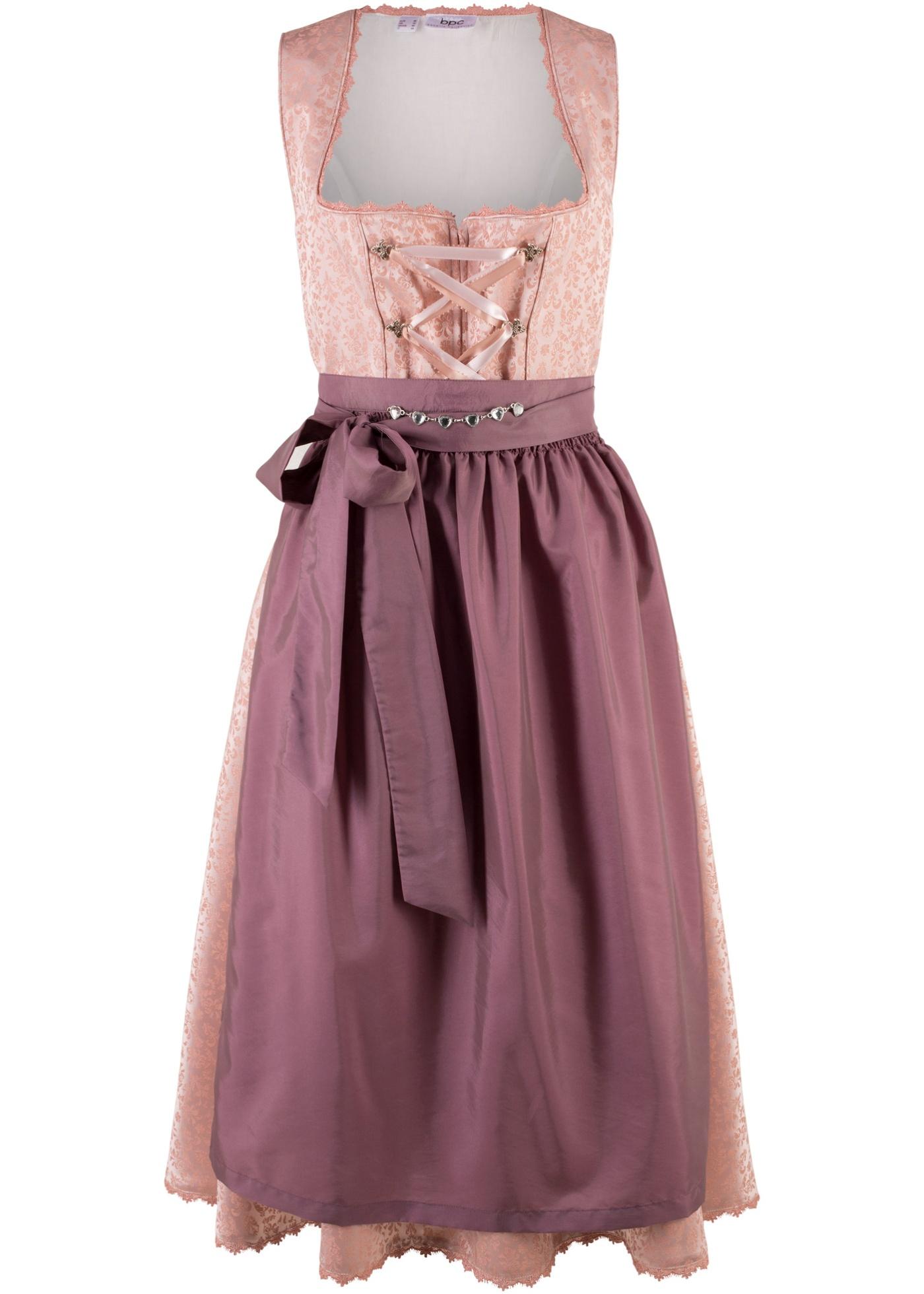 74f50f04ddfd Beställ Folkdräktsinspirerad klänning med förkläde, vadlång vintagerosa,  mönstrad nu från 999.- kr