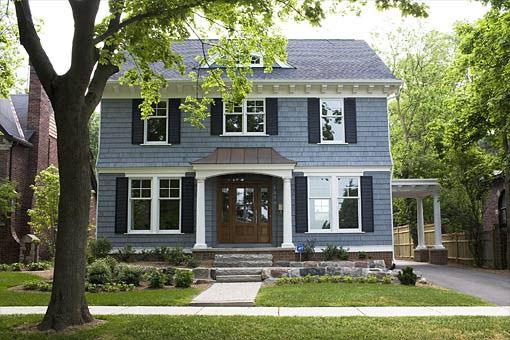 Slate blue paint color scheme for exterior house those for Blue house builders
