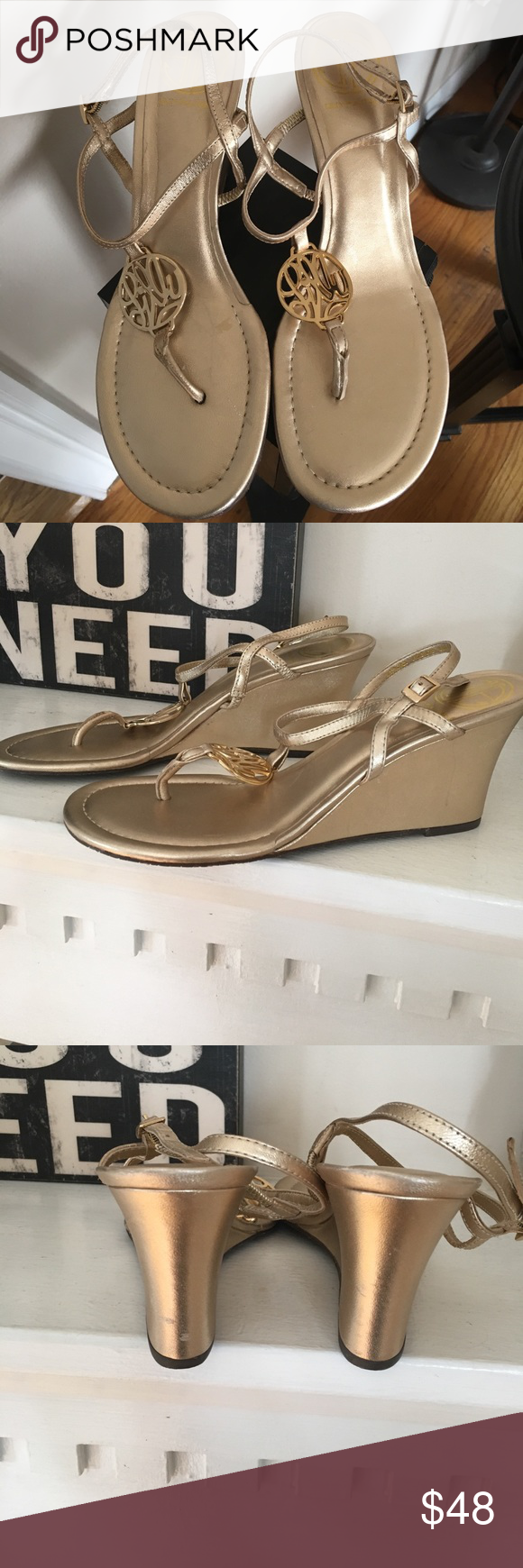 """Lilly Pulitzer gold wedge sandal! Gold Lilly wedge sandal with gold Lilly emblem on the from super comfy wedge height is 3"""" Lilly Pulitzer Shoes Wedges"""