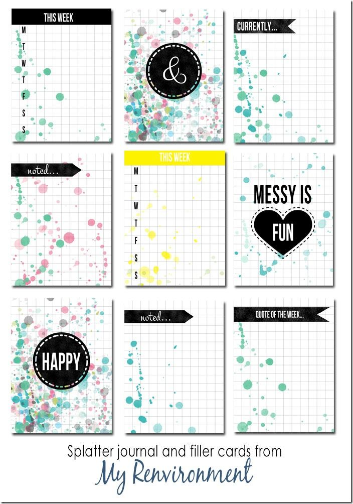 50 Free Water Colour Splattered Journal and Filler Cards from My Renvironment