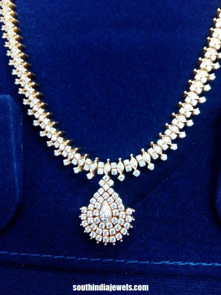 a95f574a62c015 gold white stone necklace design | Necklace Collections in 2019 ...