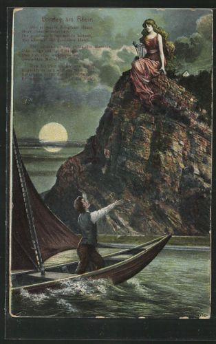 Cpa Seemann Erblickt Die Loreley Des Nachts Auf Dem Felsen Sitzend 1911 Bilder Heinrich Heine Rheine