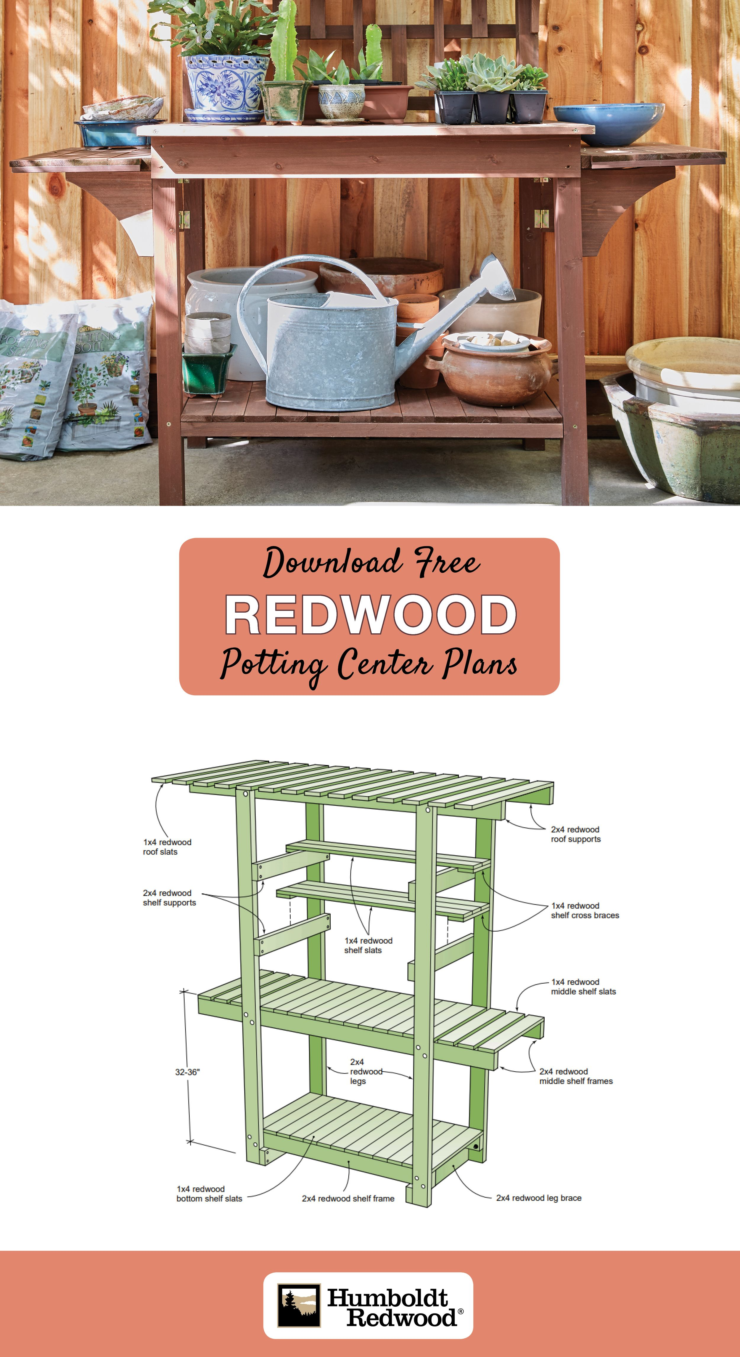 Whether You Are Displaying Prize Bonsai Or Potting New Impatiens This Free Standing Redwood Potting Center Creates A Peacef How To Plan Shelf Supports Redwood