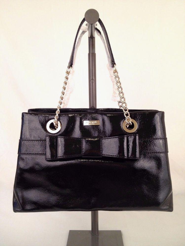 Kate Spade Beaumont Bridge Elena Shiny Black Leather Handbag Msrp 458 Ebay