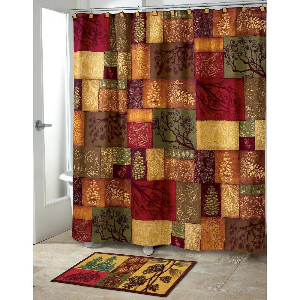 Adirondack Pine Shower Curtain Green Gold Avanti Multi Colored
