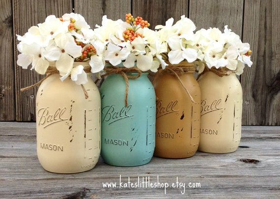 Set of 4 Quart Size Mason Jars. Valentine. by Kateslittleshop
