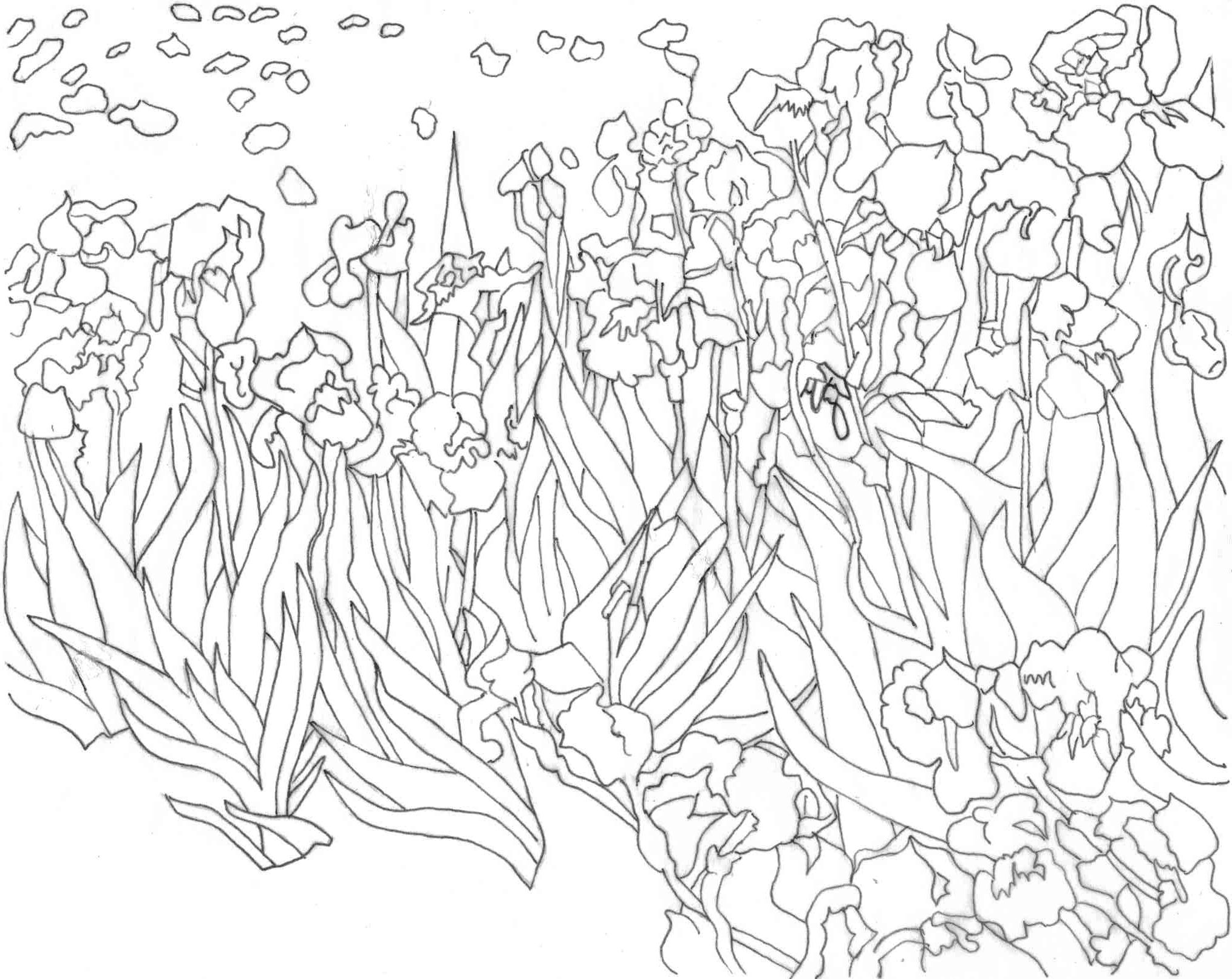 Coloring Page Van Gogh S Irises Amazing Wiz Kids Van Gogh Irises Van Gogh Coloring Sunflower Coloring Pages