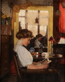 Artwork by Harold C. Dunbar, Woman Reading, Made of oil on canvas