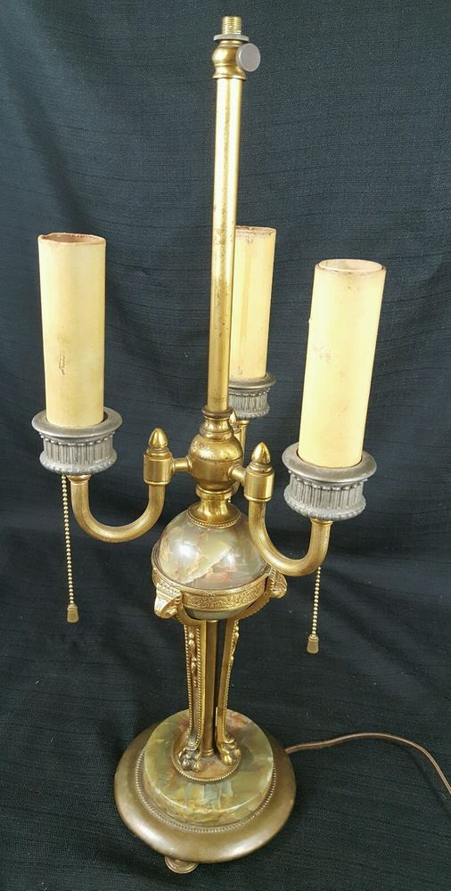ANTIQUE Table Lamp Brass w Marble Claw Foot Art Deco Victorian 3 Candelabra VTG | Collectibles, Lamps, Lighting, Lamps: Electric | eBay!