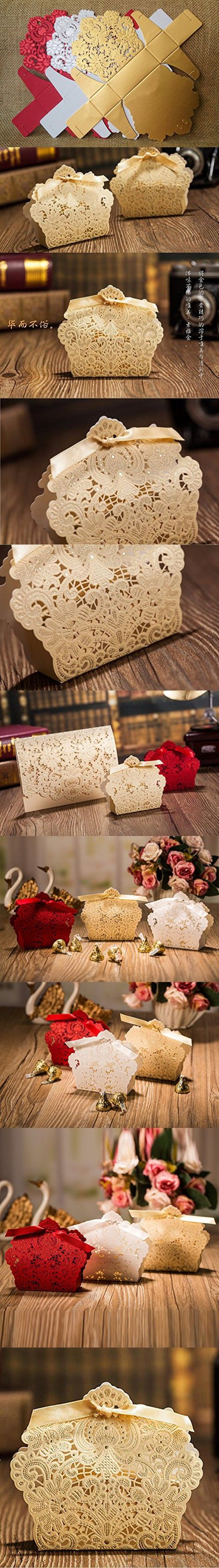 KrismileAAR Wedding Decorations Red And Champagne Color Lace Hollow Candy Box Gift For Favors Gold