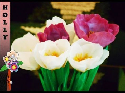 How To Make Tulip Paper Flowers At Home Art Exhibition Youtube