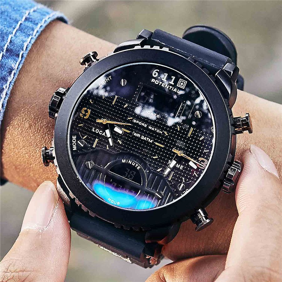 6 11 New Big Mens Watch Sport Quartz Men Wristwatches Quartz Black Led Digital Sport Watch Men Relogi Mens Sport Watches Watches For Men Digital Sports Watches