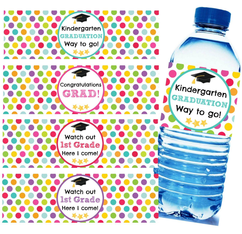 Printable Kindergarten Graduation Water Bottle Labels Instant