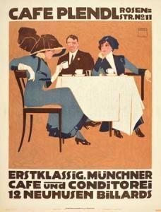 Ludwig Hohlwein - Cafe Plendl.1911.