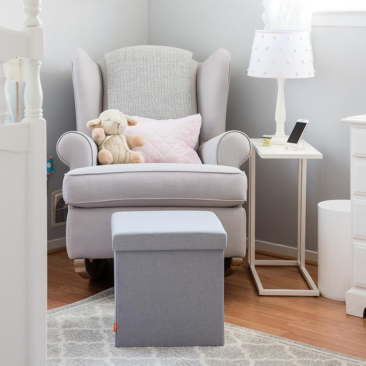 Light Grey Poppin Box Seat Storage Bench Seating Blue Dining Room Chairs Bedroom Seating #toddler #living #room #chair