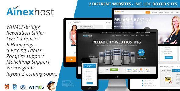 Free Ainex Host - WHMCS Integration WordPress Theme - http ...