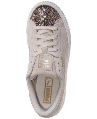 8bd15b379af6 Puma Women s Suede Platform Crushed Gem Casual Sneaker - White 6.5 ...