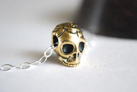 Skull Necklace  Dia De Los Muertos Sterling by paperfacestudio