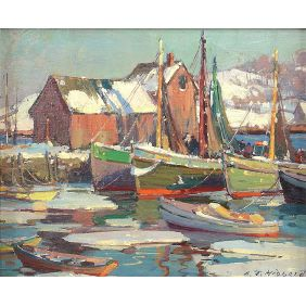 Aldro Thompson Hibbard (1886-1972) Winter Harbor Rockport Motif #1.