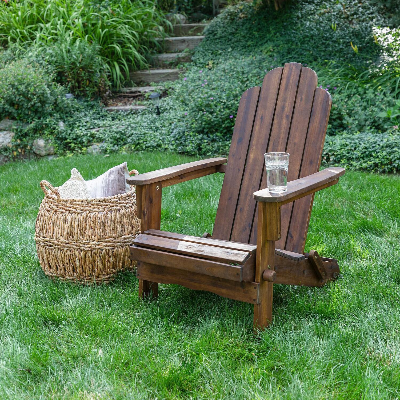 Folding Acacia Patio Adirondack Chair By Walker Edison Dark