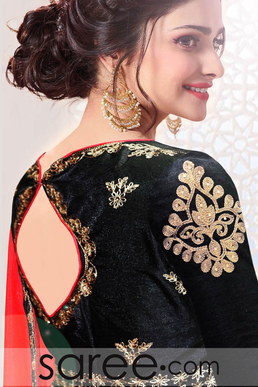 Prachi Desai Dark Pink Silk Saree With Zari Embroidery Work Pink Silk Blouse Designs Silk Designer Blouse Patterns