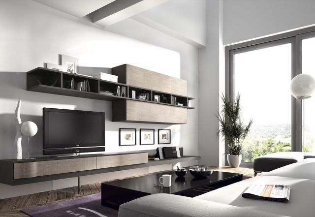 un meuble tv suspendu en bois vlair et fonc dans le salon. Black Bedroom Furniture Sets. Home Design Ideas