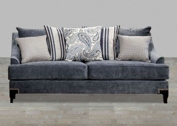 Outstanding Contemporary Slate Blue Fabric Sofa With Nailhead Trim Ibusinesslaw Wood Chair Design Ideas Ibusinesslaworg