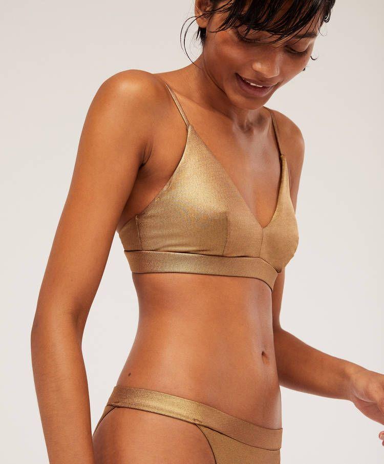 Sujetador Bikini Triangular Dorado Bikinis Bano Y Beachwear