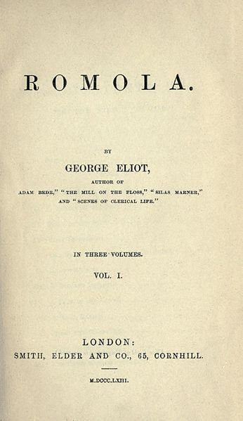 0010 Romola, by Eliot, 1863 version The Bookish One