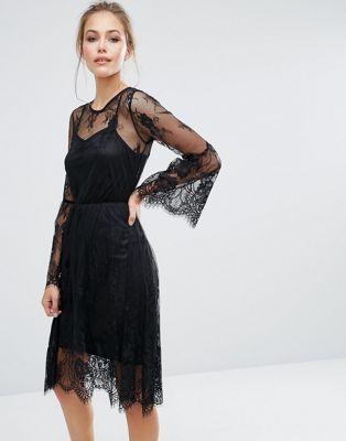 Boohoo Lace Fluted Sleeve Midi Dress Mood Board In 2019