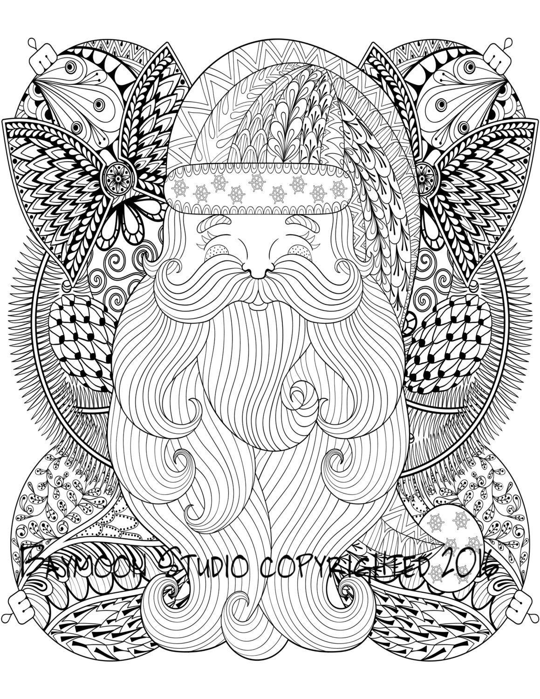 Santa con adornos de Navidad para colorear página por BAYMOONSTUDIO ...