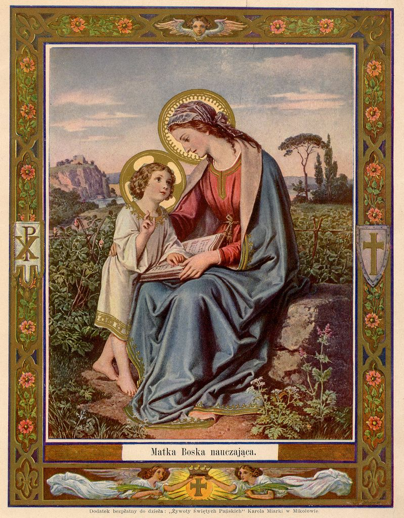 Lithograph of Mary and the Child Christ