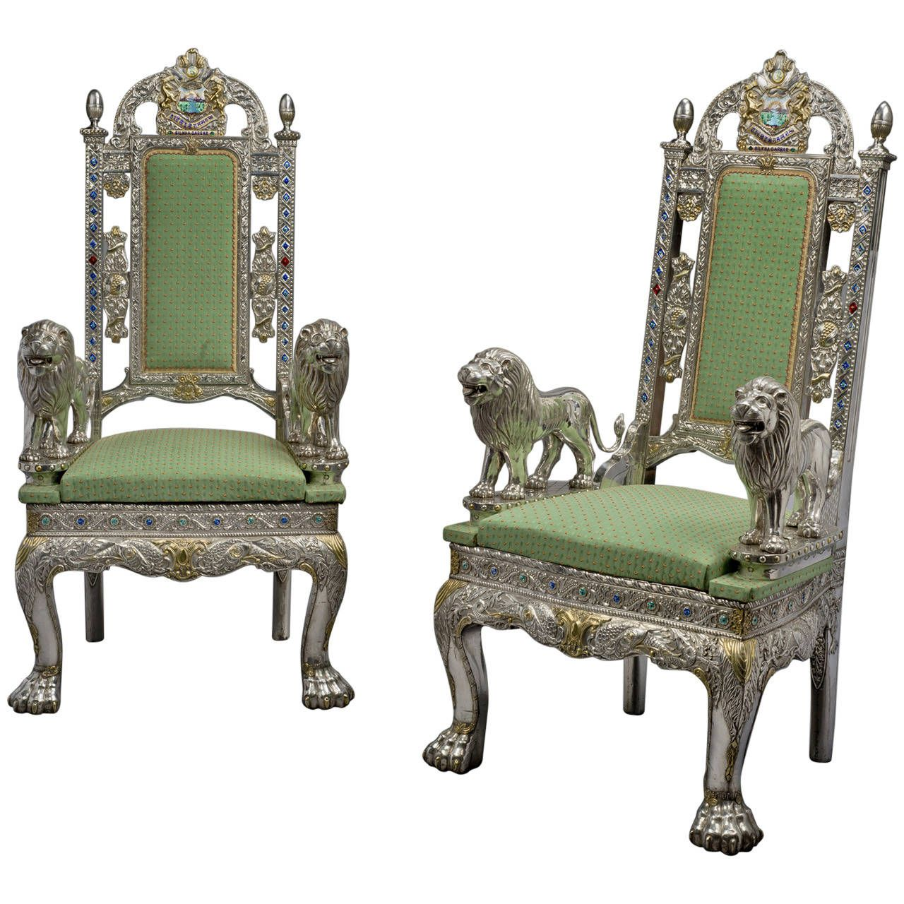 Best Pair Of Anglo Indian Silver Veneered Throne Chairs From 400 x 300
