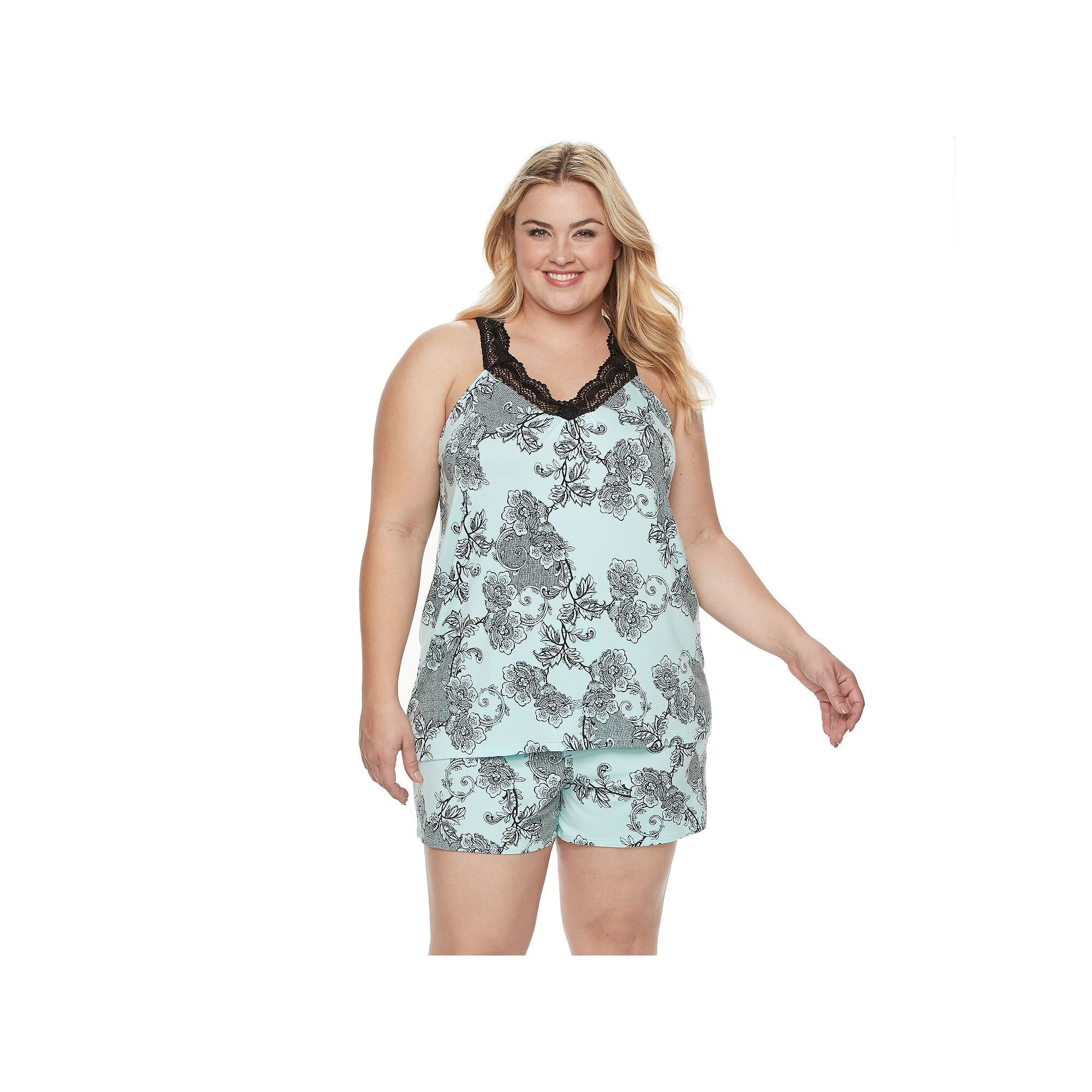Plus Size Apt. 9® Pajamas: Love Story Tank & Shorts PJ Set, Women's, Size: 3XL, Brt Blue