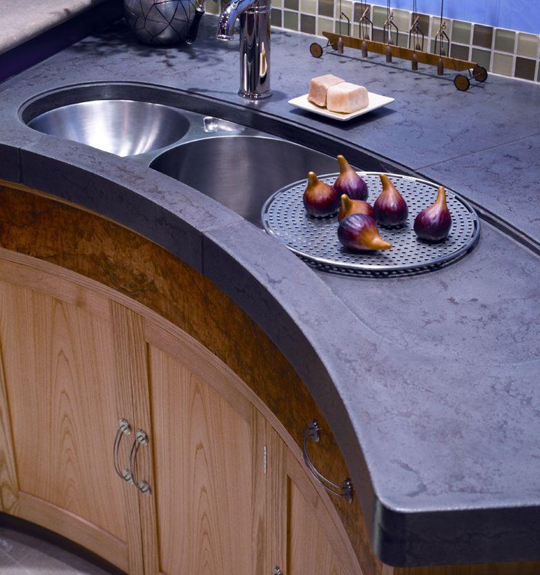 Concrete countertop with signature pressed finish, tone on tone - Buddy Rhodes Studio
