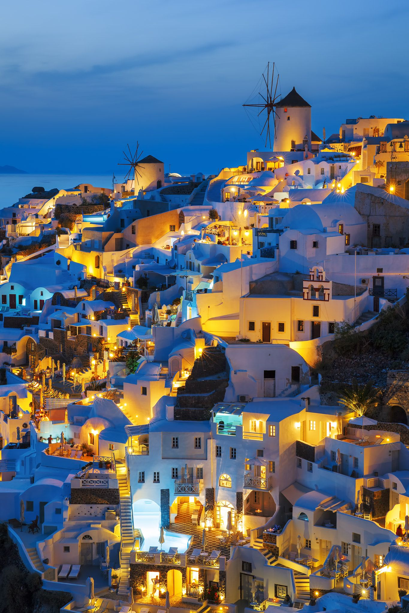 Lights Of Oia Village At Night Lights Of Oia Village At