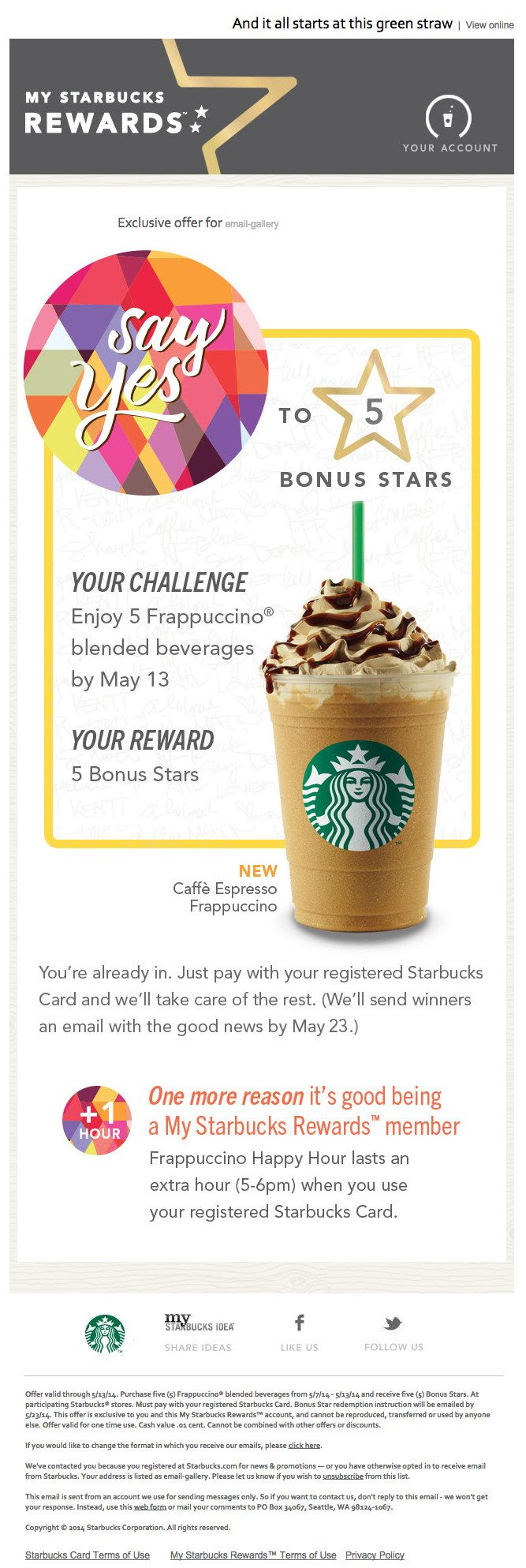 My Starbucks Rewards - Starbucks Coffee. Loyality program email design #email #design #newsletter #emailmarketing