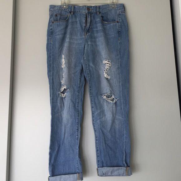J.crew medium wash ripped boyfriend jeans J.crew medium wash slightly ripped boyfriend jeans. Size 29. 100% cotton. No trades, sorry. J. Crew Jeans Boyfriend