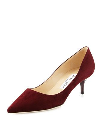 Jimmy Choo Aza Suede Kitten Heel Pump Dark Red Kitten Heel Pumps Jimmy Choo Heels Kitten Heels